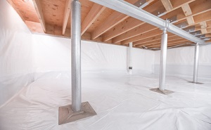 Crawl space structural support jacks installed in Northborough