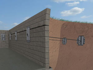 A graphic illustration of a foundation wall system installed in Agawam