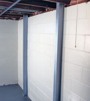 A PowerBrace™ i-beam foundation wall repair system in Worcester